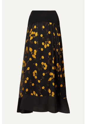 3.1 Phillip Lim - Cerise Paneled Printed Silk Crepe De Chine Maxi Skirt - Black