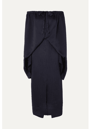 Roland Mouret - Hinsby Off-the-shoulder Layered Hammered-silk Dress - Navy