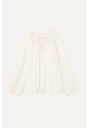 FRAME - Lattice-trimmed Crepe De Chine Blouse - Cream