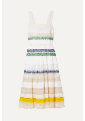 Tory Burch - Lace-trimmed Cotton-voile Midi Dress - White