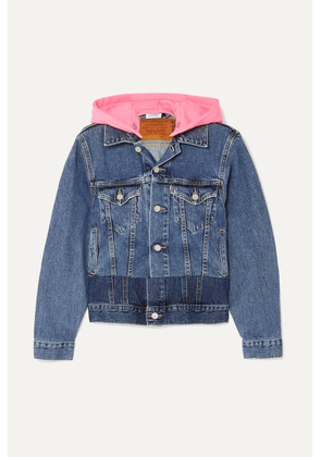 Vetements - Hooded Embroidered Neon Jersey And Denim Jacket - Indigo