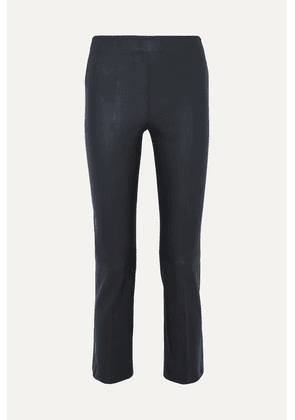 By Malene Birger - Floridia Cropped Leather Slim-leg Pants - Midnight blue