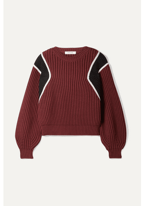 FRAME - Cropped Ribbed Cotton-blend Sweater - Burgundy