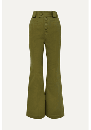 Proenza Schouler - Cotton-twill Flared Pants - Army green