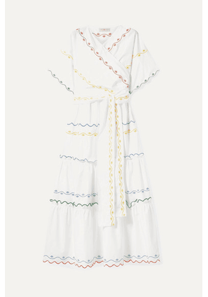 Tory Burch - Tiered Embroidered Cotton-poplin Wrap Maxi Dress - White