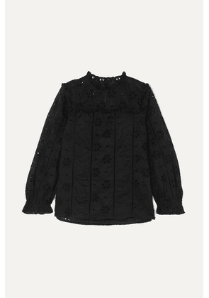 J.Crew - Bash Ruffled Broderie Anglaise Cotton-voile Blouse - Black