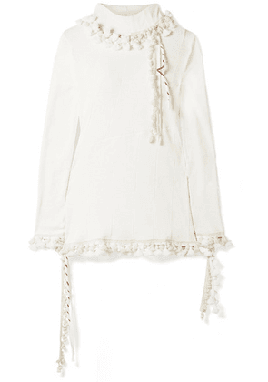 Loewe - Pompom-embellished Ribbed Cotton And Linen-blend Turtleneck Top - Cream