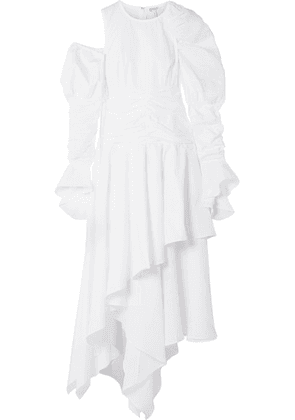 Loewe - Cutout Ruffled Cotton And Linen-blend Maxi Dress - White