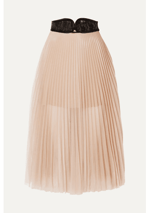 Christopher Kane - Lace-trimmed Pleated Chiffon Skirt - Beige
