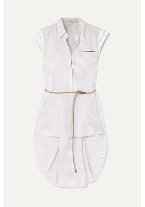 Brunello Cucinelli - Belted Beaded Striped Cotton-poplin Blouse - White