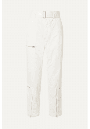 Helmut Lang - Cropped Belted Cotton-blend Twill Straight-leg Pants - Ivory
