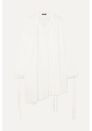 Ann Demeulemeester - Oversized Tie-detailed Cotton Shirt - White
