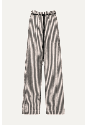 Ann Demeulemeester - Belted Striped Cotton And Ramie-blend Wide-leg Pants - Ecru