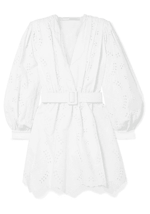 Off-White - Belted Broderie Anglaise Cotton-blend Mini Dress - IT46