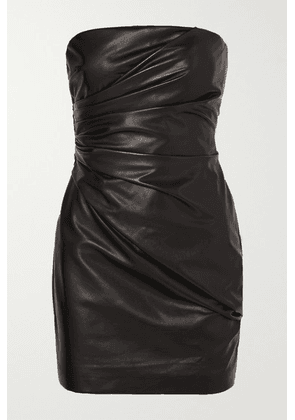 Versace - Strapless Ruched Leather Mini Dress - Black