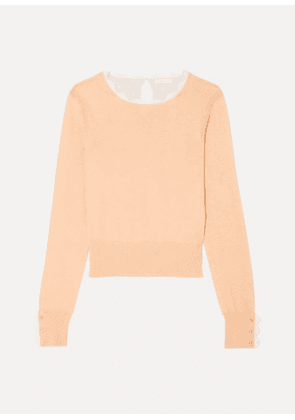 See By Chloé - Scalloped Two-tone Cotton-blend Sweater - Beige