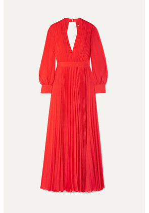 Alice + Olivia - Cheney Cutout Pleated Georgette Maxi Dress - Red