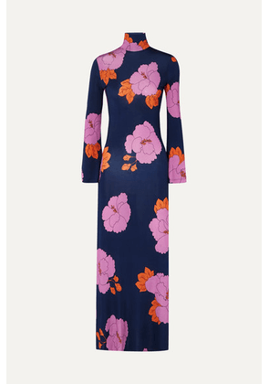Dodo Bar Or - Brigitte Floral-print Stretch-jersey Dress - Navy