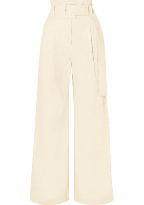 Proenza Schouler - Belted Cotton-twill Wide-leg Pants - White