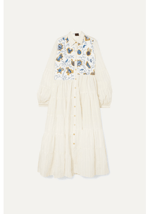 Loewe - + Paula's Ibiza Sequin-embellished Striped Poplin Dress - White