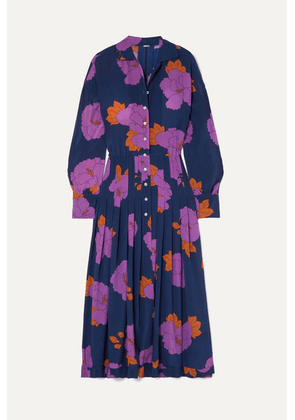 Dodo Bar Or - Anabelle Floral-print Silk Crepe De Chine Midi Dress - Navy