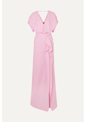 Roland Mouret - Lorre Cape-effect Ruffled Crepe Gown - Pink