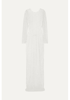 Balmain - Open-back Embellished Chiffon Gown - White