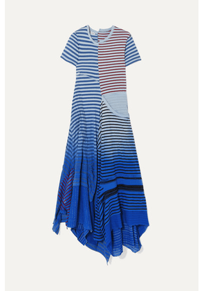Loewe - Tiered Striped Broderie Anglaise-trimmed Cotton-jersey Midi Dress - Blue