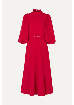 Andrew Gn - Belted Crepe Midi Dress - Red
