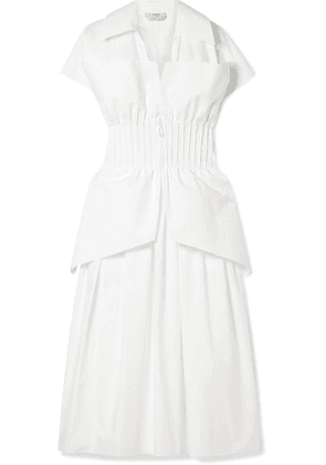 Fendi - Pintucked Cotton-poplin Peplum Dress - White
