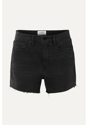 FRAME - Le Brigette Frayed Denim Shorts - Black