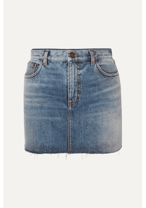 SAINT LAURENT - Distressed Denim Mini Skirt - Blue