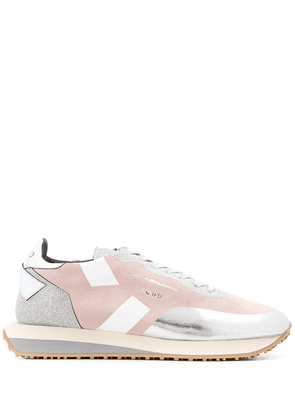 Ghoud colour block lace-up sneakers - SILVER