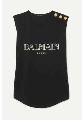 Balmain - Button-embellished Printed Cotton-jersey Tank - Black