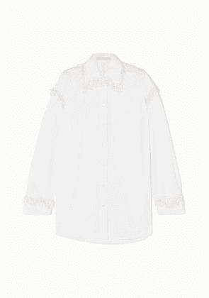 Christopher Kane - Oversized Faux Pearl-embellished Cotton-poplin Shirt - White