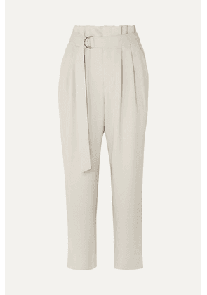Brunello Cucinelli - Belted Cropped Wool-blend Gabardine Tapered Pants - Beige