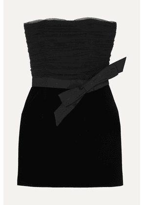 SAINT LAURENT - Strapless Bow-detailed Ruched Organza And Velvet Mini Dress - Black