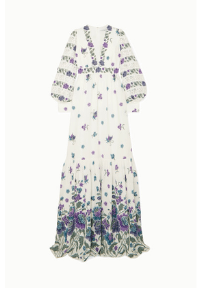 Andrew Gn - Lace-trimmed Printed Silk-blend Gown - White