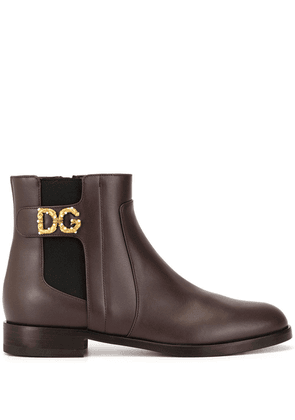 Dolce & Gabbana monogram detail ankle boots - Red