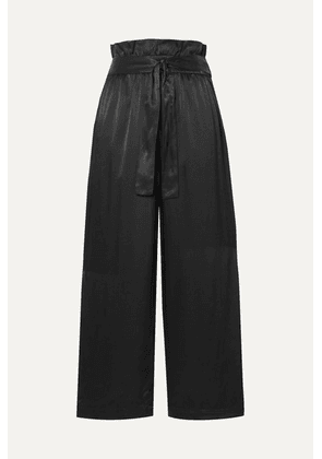 3.1 Phillip Lim - Belted Cropped Satin Wide-leg Pants - Black