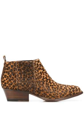 Buttero leopard heeled ankle boots - Brown