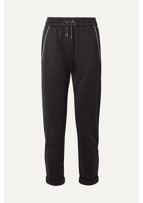 Brunello Cucinelli - Embellished Cotton-blend Jersey Track Pants - Midnight blue