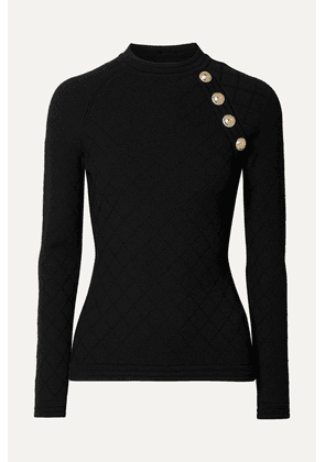 Balmain - Button-embellished Jacquard-knit Sweater - Black