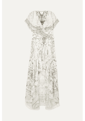 Camilla - Asymmetric Embellished Printed Silk Wrap Maxi Dress - White