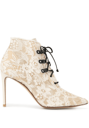 Francesco Russo lace textured ankle boots - White