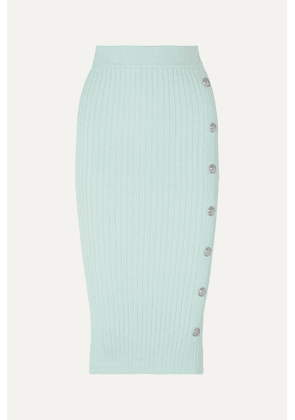 Balmain - Button-embellished Ribbed Stretch-knit Midi Skirt - Light green