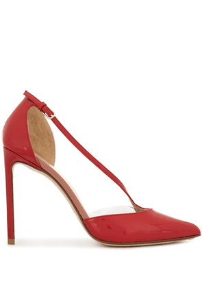 Francesco Russo patent pointed high heel pumps - Red