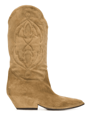 Del Carlo stitched-pattern cowboy boots - Brown