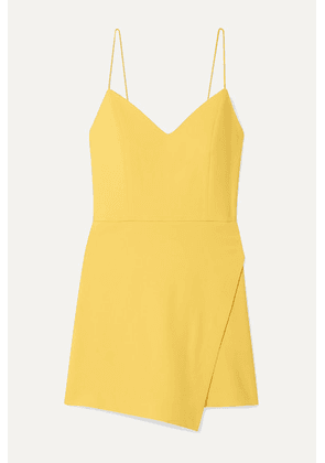 Alice + Olivia - Emery Wrap-effect Crepe Playsuit - Yellow