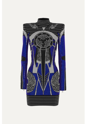 Balmain - Crystal-embellished Cady Mini Dress - Blue